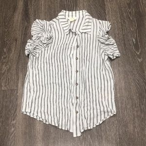 Anthropologie Short Sleeve Blouse With Ruffles